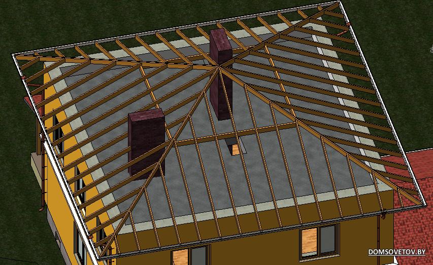 Как сделать крышу на доме четырехскатной