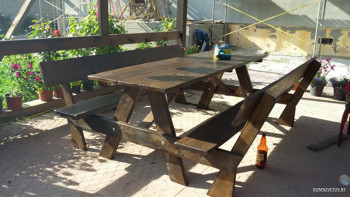 Скамейка и стол для беседки своими руками 89